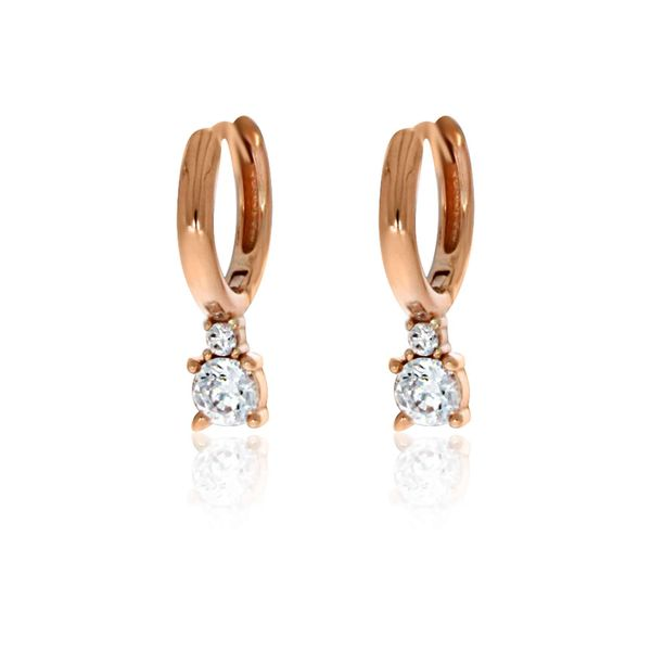 Olivia Sterling Silver Rose Gold Plated Round Huggie With Drop Cz Earrings Image 2 Georgies Fine Jewellery Narooma, New South Wales
