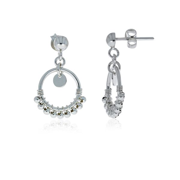 Onatah Sterling Silver Circle With Balls Drop Studs Georgies Fine Jewellery Narooma, New South Wales