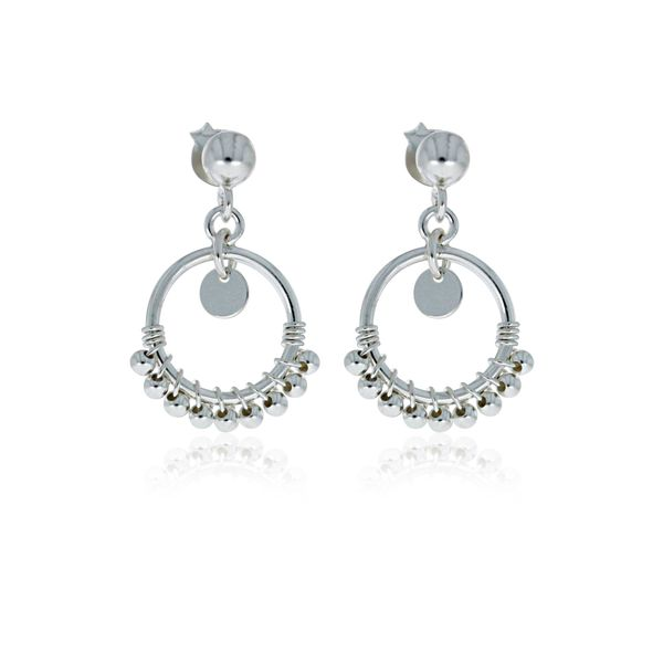 Onatah Sterling Silver Circle With Balls Drop Studs Image 2 Georgies Fine Jewellery Narooma, New South Wales