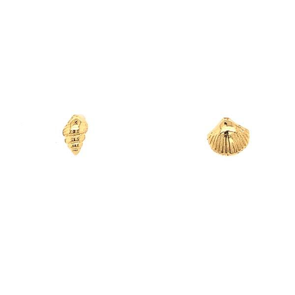 Onatah Ocean Babes Yellow Gold Mismatched Shell Studs Georgies Fine Jewellery Narooma, New South Wales