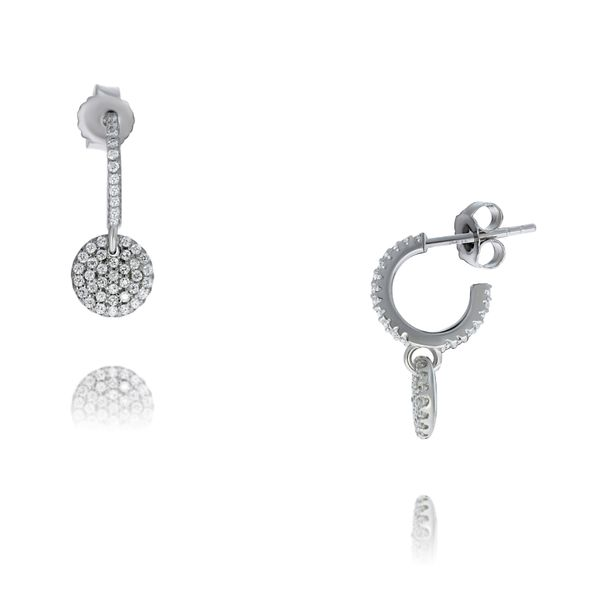 Olivia Sterling Silver Cz Set Stud Hoops With Pave Cz Disc Drop Georgies Fine Jewellery Narooma, New South Wales
