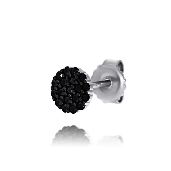 Olivia Sterling Silver Rhodium Plated Black Cz Disc Stud Earrings Image 4 Georgies Fine Jewellery Narooma, New South Wales