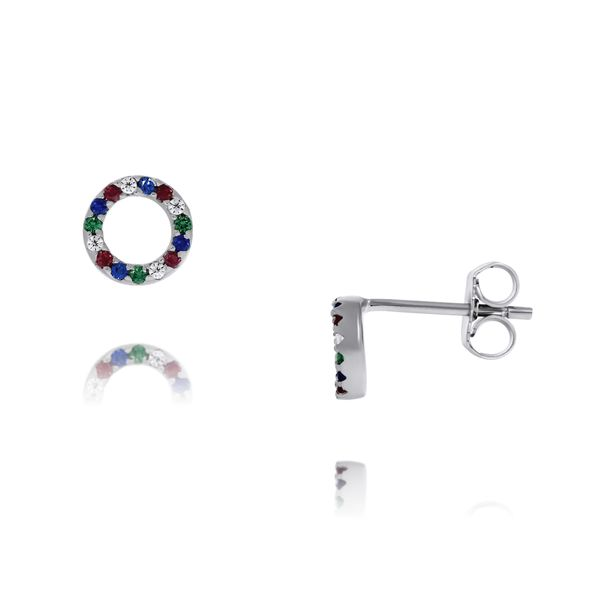 Olivia Sterling Silver Rhodium Plated Circle Multi Coloured Cz Set Stud Earrings Georgies Fine Jewellery Narooma, New South Wales