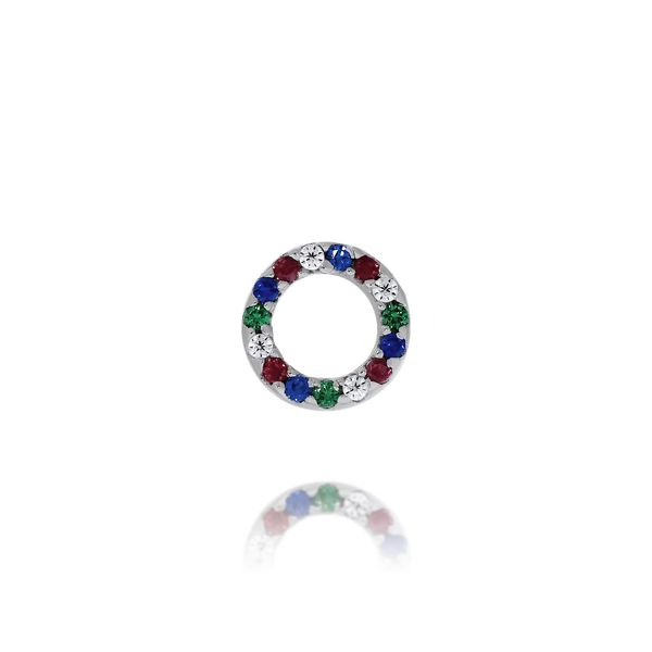 Olivia Sterling Silver Rhodium Plated Circle Multi Coloured Cz Set Stud Earrings Image 3 Georgies Fine Jewellery Narooma, New South Wales