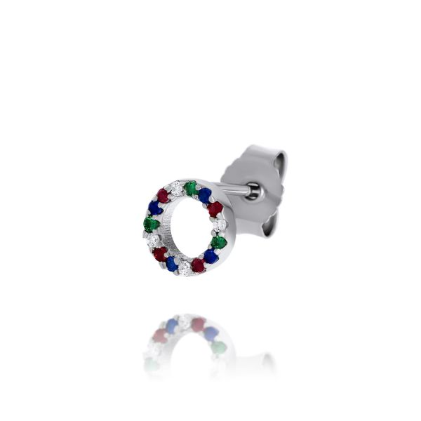 Olivia Sterling Silver Rhodium Plated Circle Multi Coloured Cz Set Stud Earrings Image 4 Georgies Fine Jewellery Narooma, New South Wales