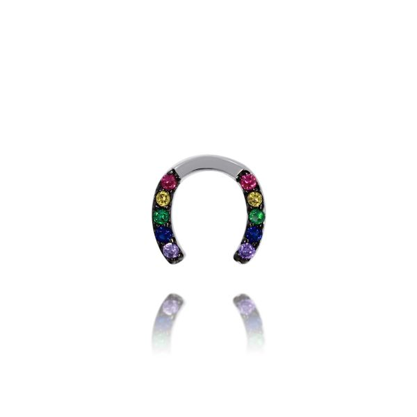 Olivia Sterling Silver Rhodium Plated Horseshoe Multi Coloured Cz Set Stud Earrings Image 3 Georgies Fine Jewellery Narooma, New South Wales