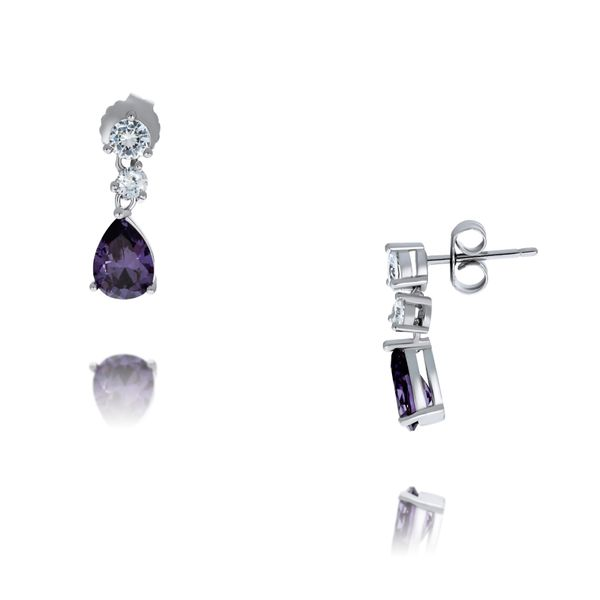 Olivia Sterling Silver Rhodium Plated Pear Shaped Purple Cz And White Cz Drop Stud Earrings Georgies Fine Jewellery Narooma, New South Wales
