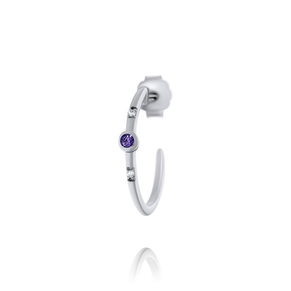 Olivia Sterling Silver Rhodium Plated Half Hoop Stud Earrings With Bezel Set Purple Czs, And Smaller Bead Set Czs Image 2 Georgies Fine Jewellery Narooma, New South Wales
