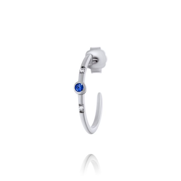 Olivia Sterling Silver Rhodium Plated Half Hoop Stud Earrings With Bezel Set Dark Blue Czs, And Smaller Bead Set Czs Image 3 Georgies Fine Jewellery Narooma, New South Wales