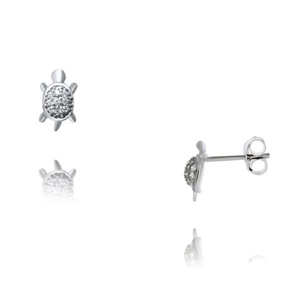 Silver Turtle Stud Earrings With CZ Georgies Fine Jewellery Narooma, New South Wales
