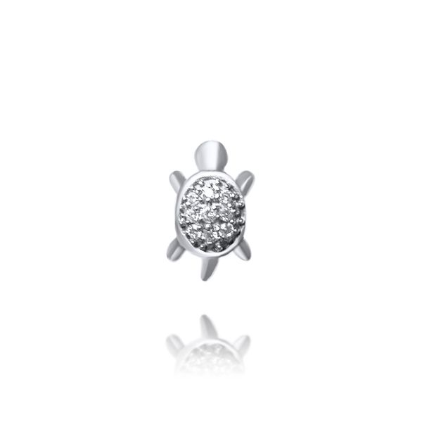 Silver Turtle Stud Earrings With CZ Image 3 Georgies Fine Jewellery Narooma, New South Wales