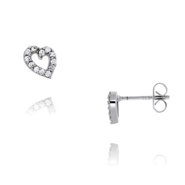 Silver Heart Stud Earrings With CZ Georgies Fine Jewellery Narooma, New South Wales