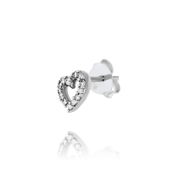 Silver Heart Stud Earrings With CZ Image 3 Georgies Fine Jewellery Narooma, New South Wales