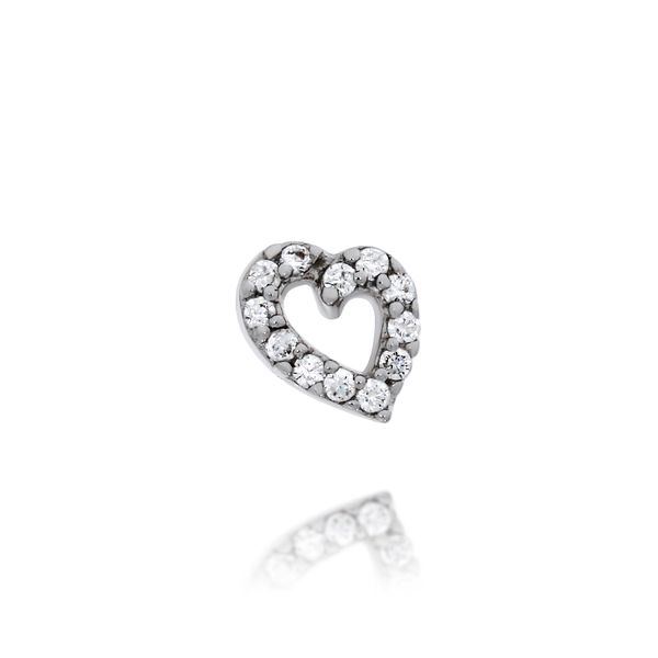 Silver Heart Stud Earrings With CZ Image 4 Georgies Fine Jewellery Narooma, New South Wales