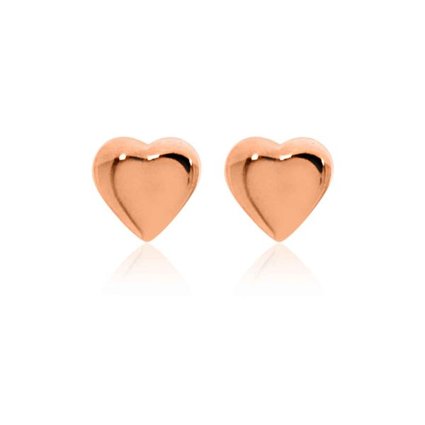 Mojo Rose Gold Plated Tiny Heart Studs Image 2 Georgies Fine Jewellery Narooma, New South Wales