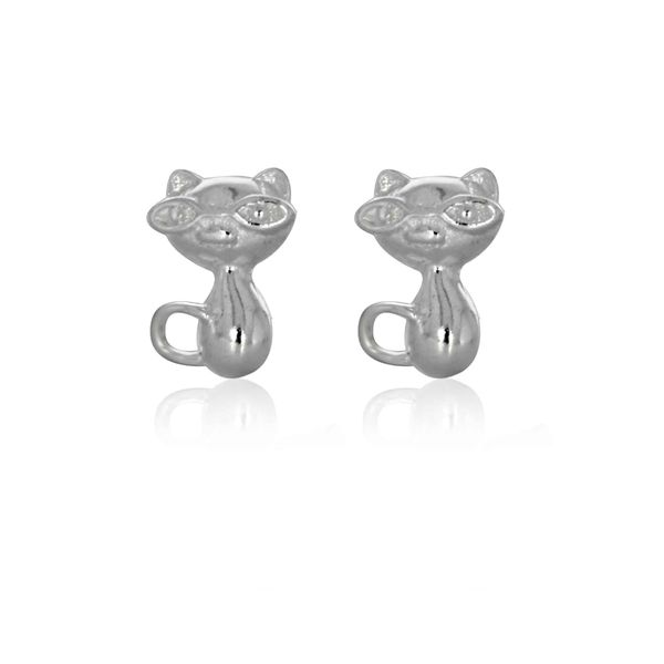Sterling Silver Cat Stud Earrings Image 2 Georgies Fine Jewellery Narooma, New South Wales