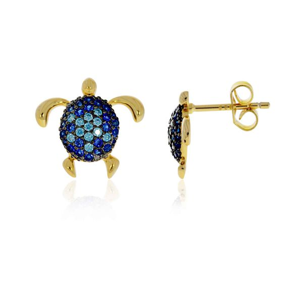 Sterling Silver Yellow Gold Plated Blue Cz Set Turtle Stud Earrings Georgies Fine Jewellery Narooma, New South Wales