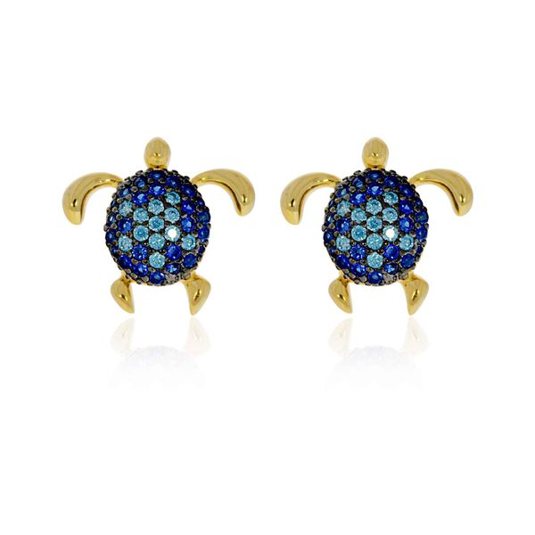 Sterling Silver Yellow Gold Plated Blue Cz Set Turtle Stud Earrings Image 2 Georgies Fine Jewellery Narooma, New South Wales