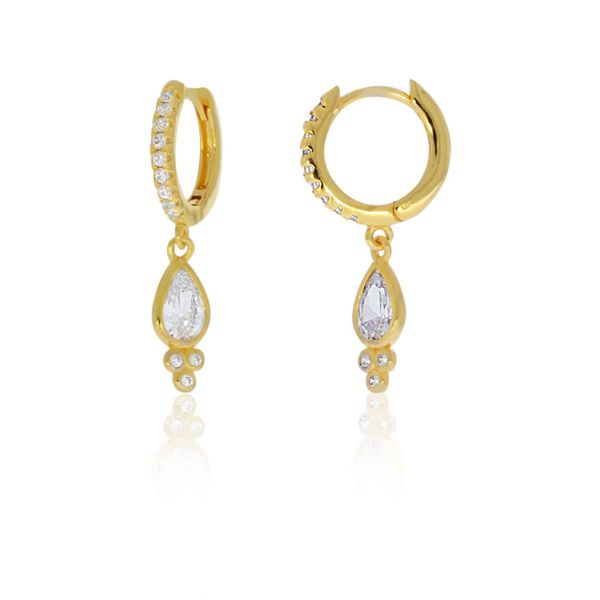 Yellow Gold Plated Cz Set Huggie Earrings Georgies Fine Jewellery Narooma, New South Wales