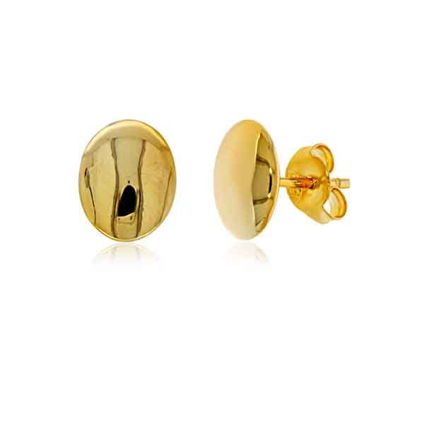 Yellow Gold Plated Plain Oval Stud Earrings Georgies Fine Jewellery Narooma, New South Wales