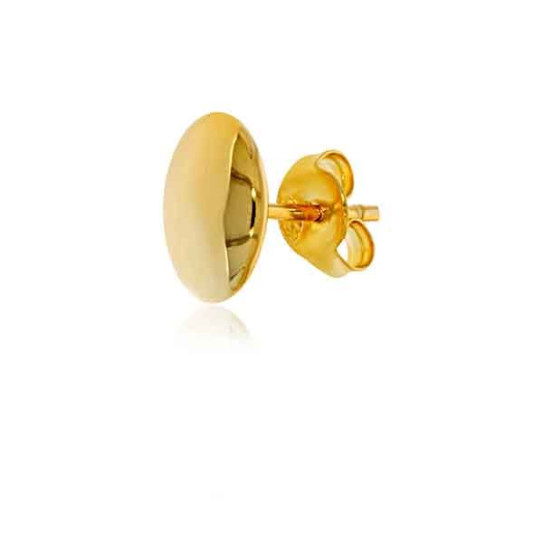 Yellow Gold Plated Plain Oval Stud Earrings Image 2 Georgies Fine Jewellery Narooma, New South Wales