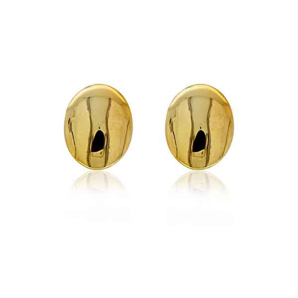 Yellow Gold Plated Plain Oval Stud Earrings Image 3 Georgies Fine Jewellery Narooma, New South Wales
