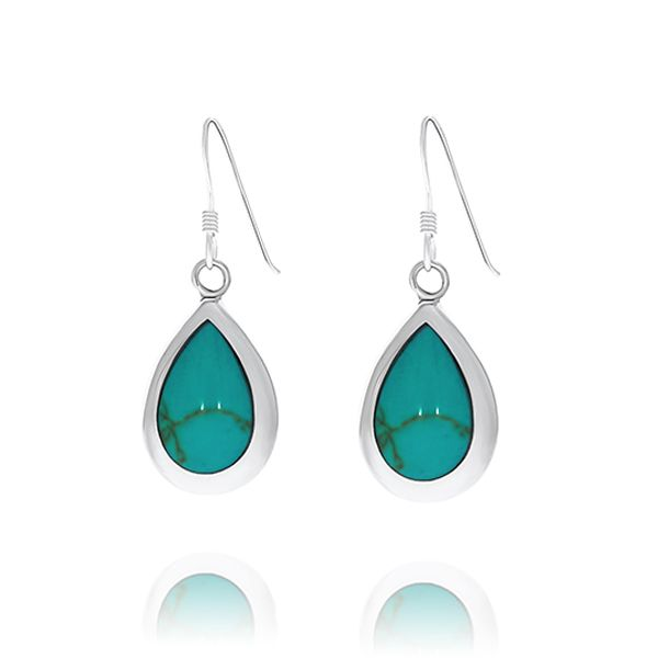 Sterling Silver Pear Shaped Turquoise Drop Earrings With Shephook Georgies Fine Jewellery Narooma, New South Wales