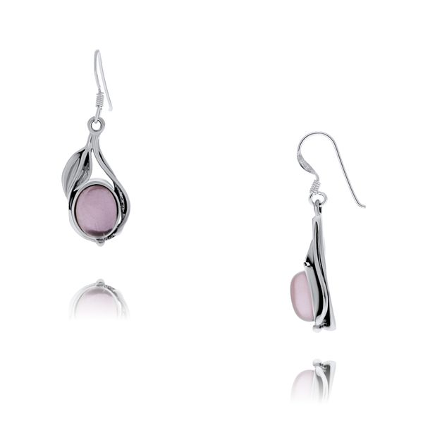 Onatah Sterling Silver Vine And Leaf Bezel Set Drop Earrings With Rose Quartz Georgies Fine Jewellery Narooma, New South Wales