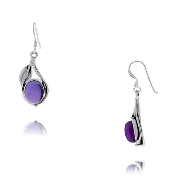 Onatah Sterling Silver Vine And Leaf Bezel Set Drop Earrings With Amethyst Georgies Fine Jewellery Narooma, New South Wales