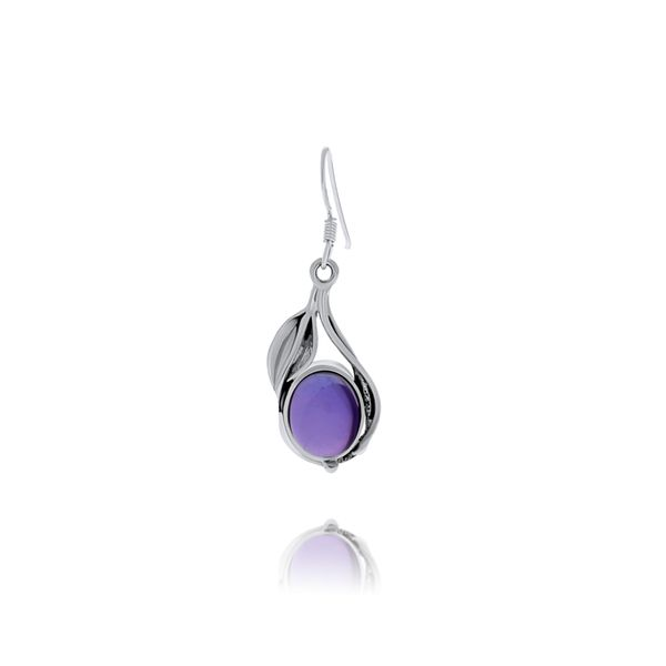 Onatah Sterling Silver Vine And Leaf Bezel Set Drop Earrings With Amethyst Image 2 Georgies Fine Jewellery Narooma, New South Wales