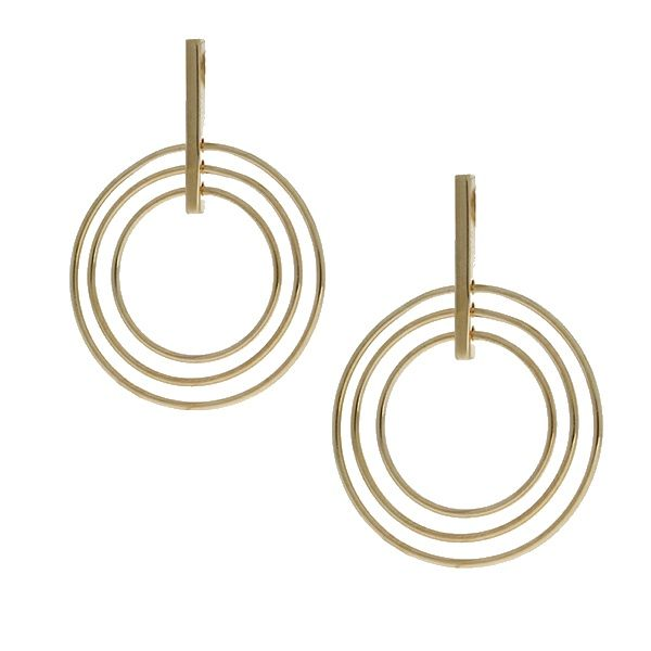 Onatah Mojo 18Ct 3 Micron Gold Plated Brass Stud Drop Earring With Multi Circles Georgies Fine Jewellery Narooma, New South Wales