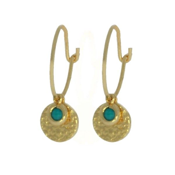 Onatah Mojo Gold Wire Hoops With Disc And Turquoise Georgies Fine Jewellery Narooma, New South Wales