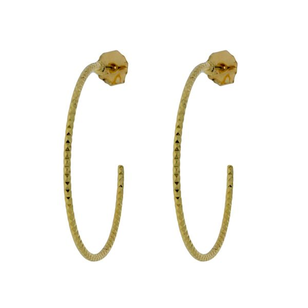 Onatah Mojo Gold Faceted Stud Hoops Image 2 Georgies Fine Jewellery Narooma, New South Wales