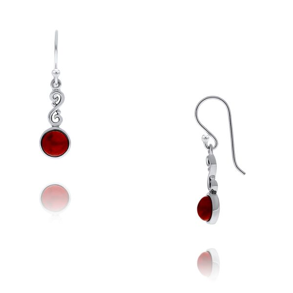 Silver Red Dyed Turquoise Round Drop Earrings Georgies Fine Jewellery Narooma, New South Wales