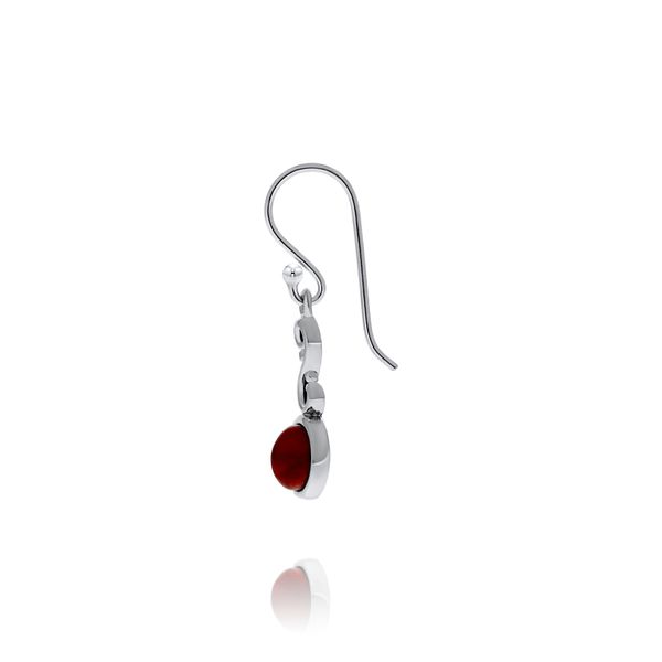 Silver Red Dyed Turquoise Round Drop Earrings Image 2 Georgies Fine Jewellery Narooma, New South Wales