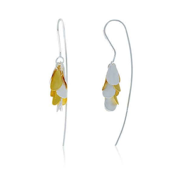 Silver And Yellow Gold Plated Petals Drop Earrings Georgies Fine Jewellery Narooma, New South Wales