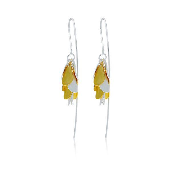 Silver And Yellow Gold Plated Petals Drop Earrings Image 3 Georgies Fine Jewellery Narooma, New South Wales