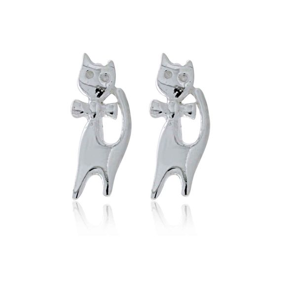 Silver Cat Stud Earrings Image 2 Georgies Fine Jewellery Narooma, New South Wales