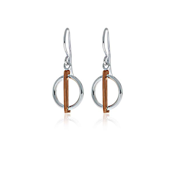 Silver and Rose Gold Plated Circle With Bar Drop Earrings Image 2 Georgies Fine Jewellery Narooma, New South Wales