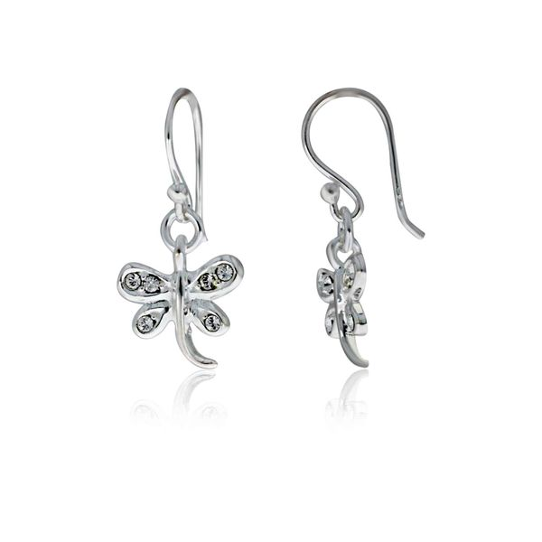 Sterling Silver Dragonfly Drop Shephook Earrings With Rhinestones Georgies Fine Jewellery Narooma, New South Wales