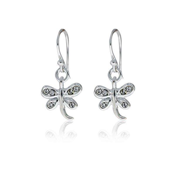 Sterling Silver Dragonfly Drop Shephook Earrings With Rhinestones Image 2 Georgies Fine Jewellery Narooma, New South Wales