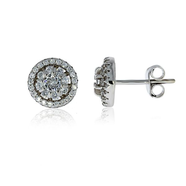 Silver Halo Stud Earrings With Pave Centre - 8.8mm Georgies Fine Jewellery Narooma, New South Wales