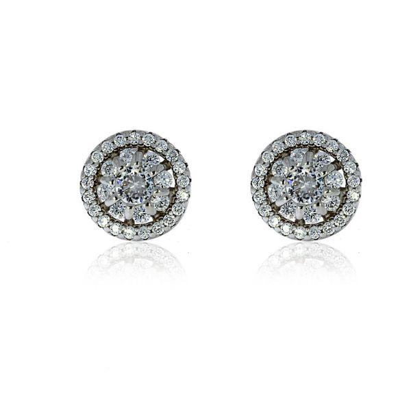 Silver Halo Stud Earrings With Pave Centre - 8.8mm Image 2 Georgies Fine Jewellery Narooma, New South Wales