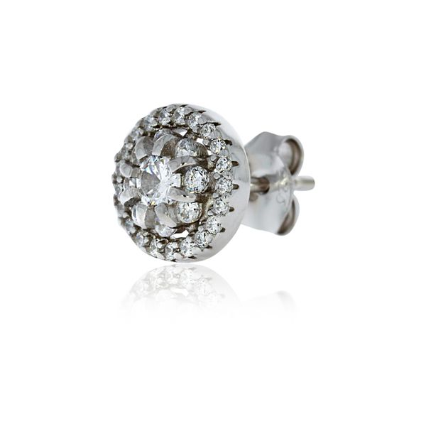 Silver Halo Stud Earrings With Pave Centre - 8.8mm Image 4 Georgies Fine Jewellery Narooma, New South Wales