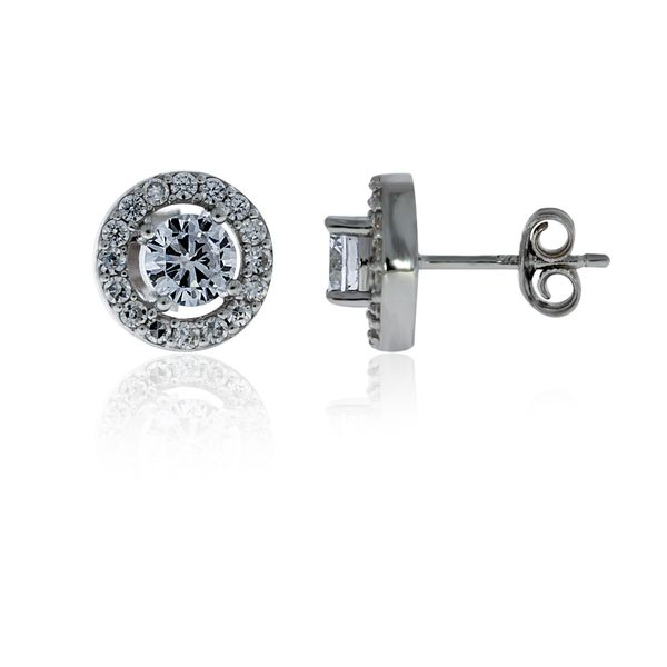 Silver Cubic Zircoina Halo Stud Earrings - 9.8mm Georgies Fine Jewellery Narooma, New South Wales
