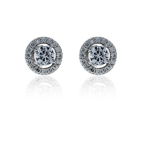 Silver Cubic Zircoina Halo Stud Earrings - 9.8mm Image 2 Georgies Fine Jewellery Narooma, New South Wales