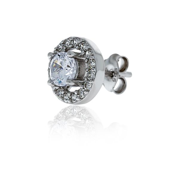 Silver Cubic Zircoina Halo Stud Earrings - 9.8mm Image 4 Georgies Fine Jewellery Narooma, New South Wales