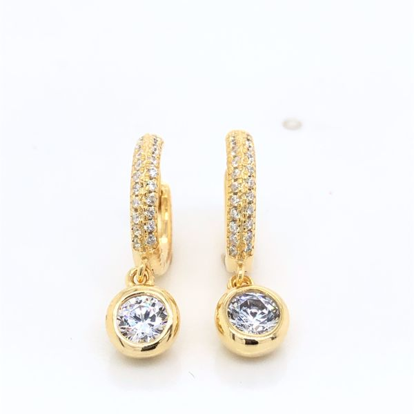 Olivia Sterling Silver Yellow Gold Plated Cz Set Huggies With Bezel Set Cz Drop Georgies Fine Jewellery Narooma, New South Wales