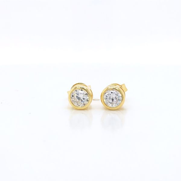 Olivia Sterling Silver Yellow Gold Plated Round Bezel Set Cz Stud Earrings Georgies Fine Jewellery Narooma, New South Wales