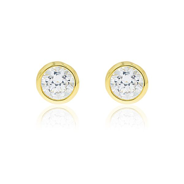 Olivia Sterling Silver Yellow Gold Plated Round Bezel Set Cz Stud Earrings Image 2 Georgies Fine Jewellery Narooma, New South Wales